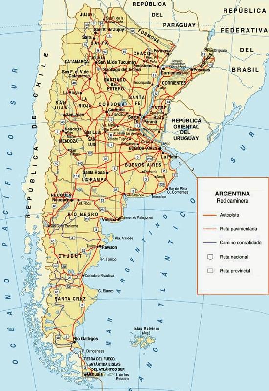 De Carreteras Y Rutas En Argentina - Argentina mapa