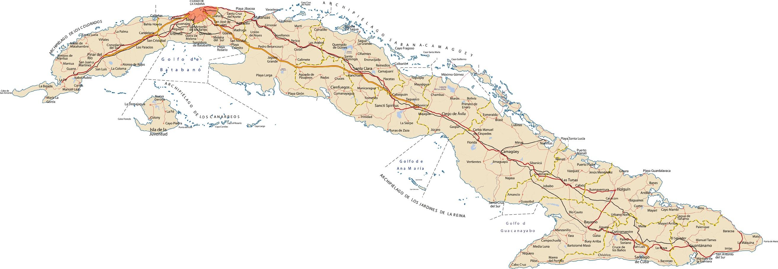 de carreteras en Cuba  MapaCarreterasorg