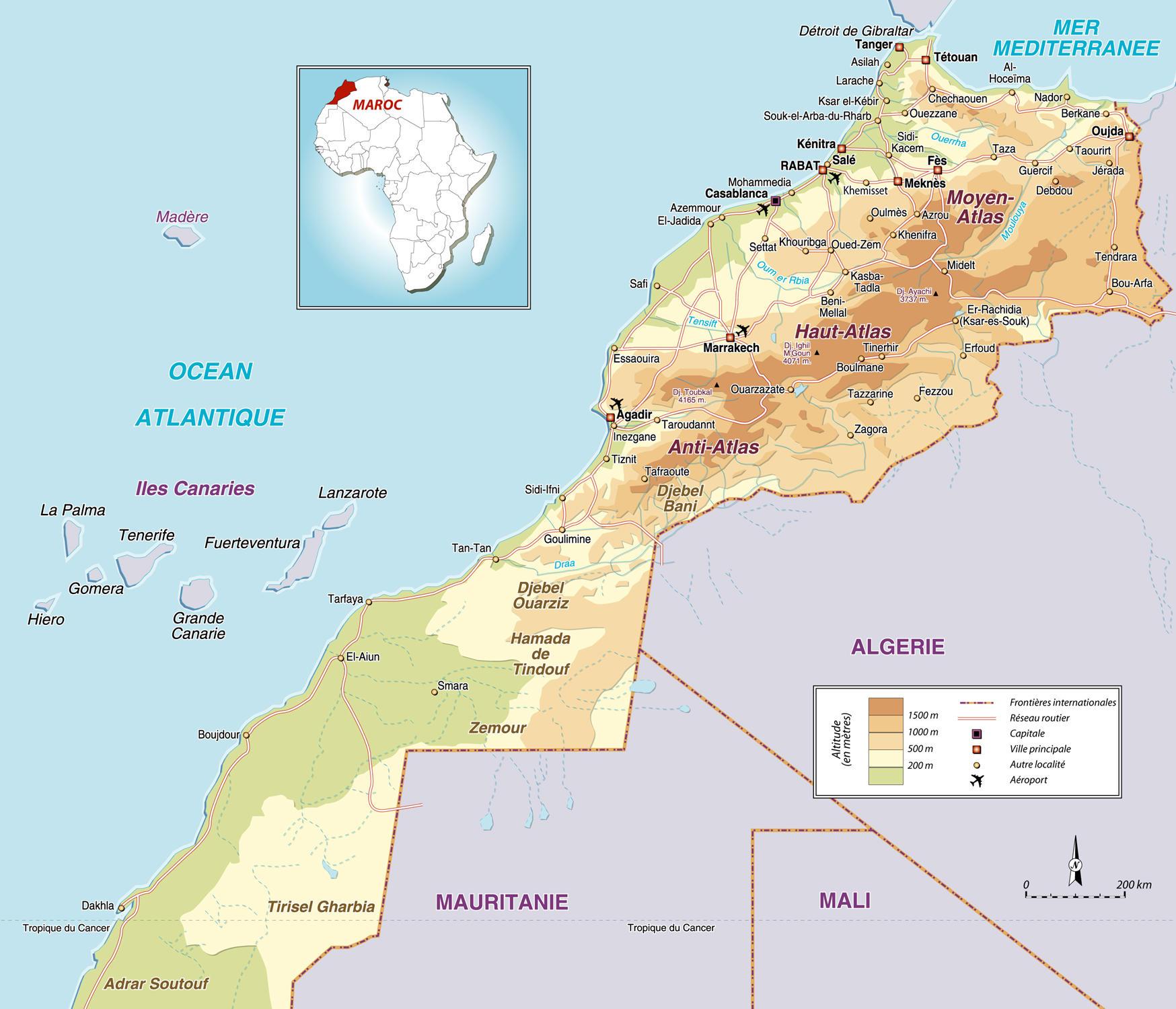 Mapa De Carreteras De Marruecos Mapacarreteras Org