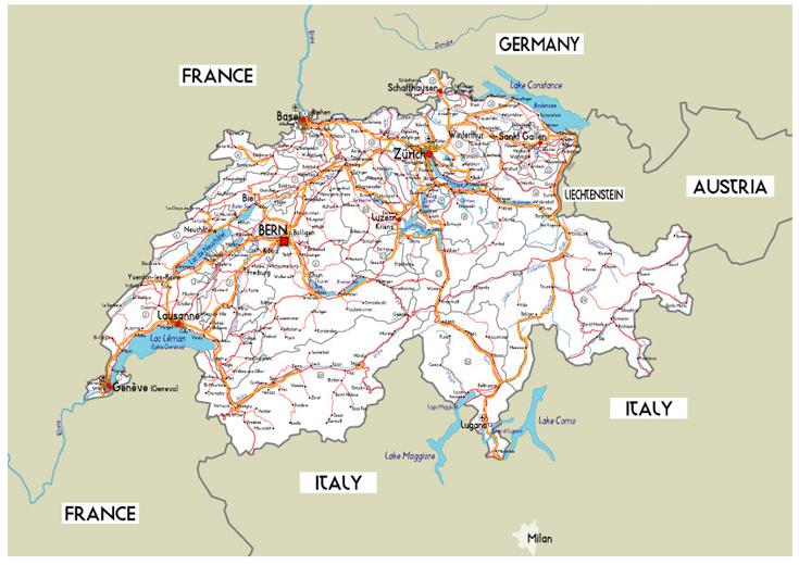 de carreteras de Suiza  MapaCarreterasorg