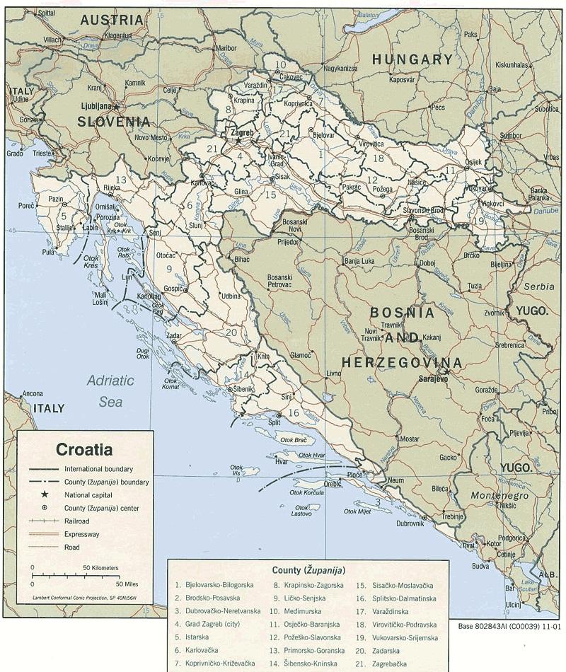 Mapa De Carreteras En Croacia Mapacarreteras Org