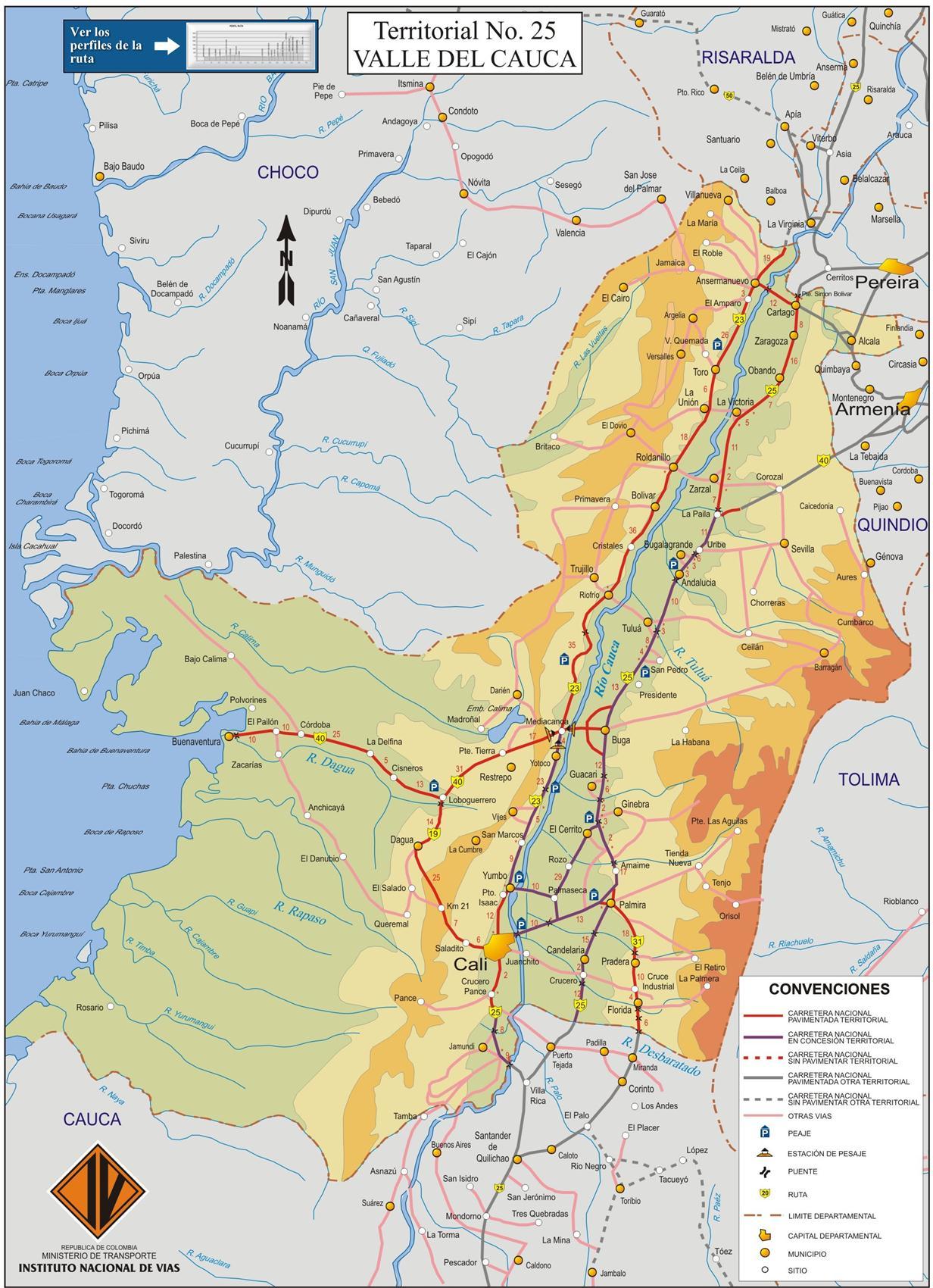 Plano de rutas de Valle del Cauca - MapaCarreteras.org