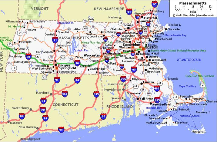 Guia De Vias En Massachusetts Mapacarreteras Org