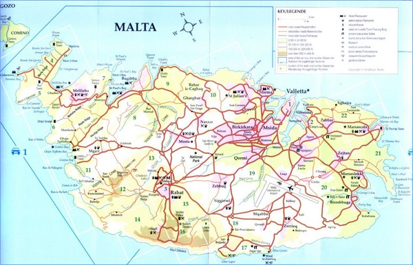 Mapa De Carreteras De Malta Mapacarreteras Org