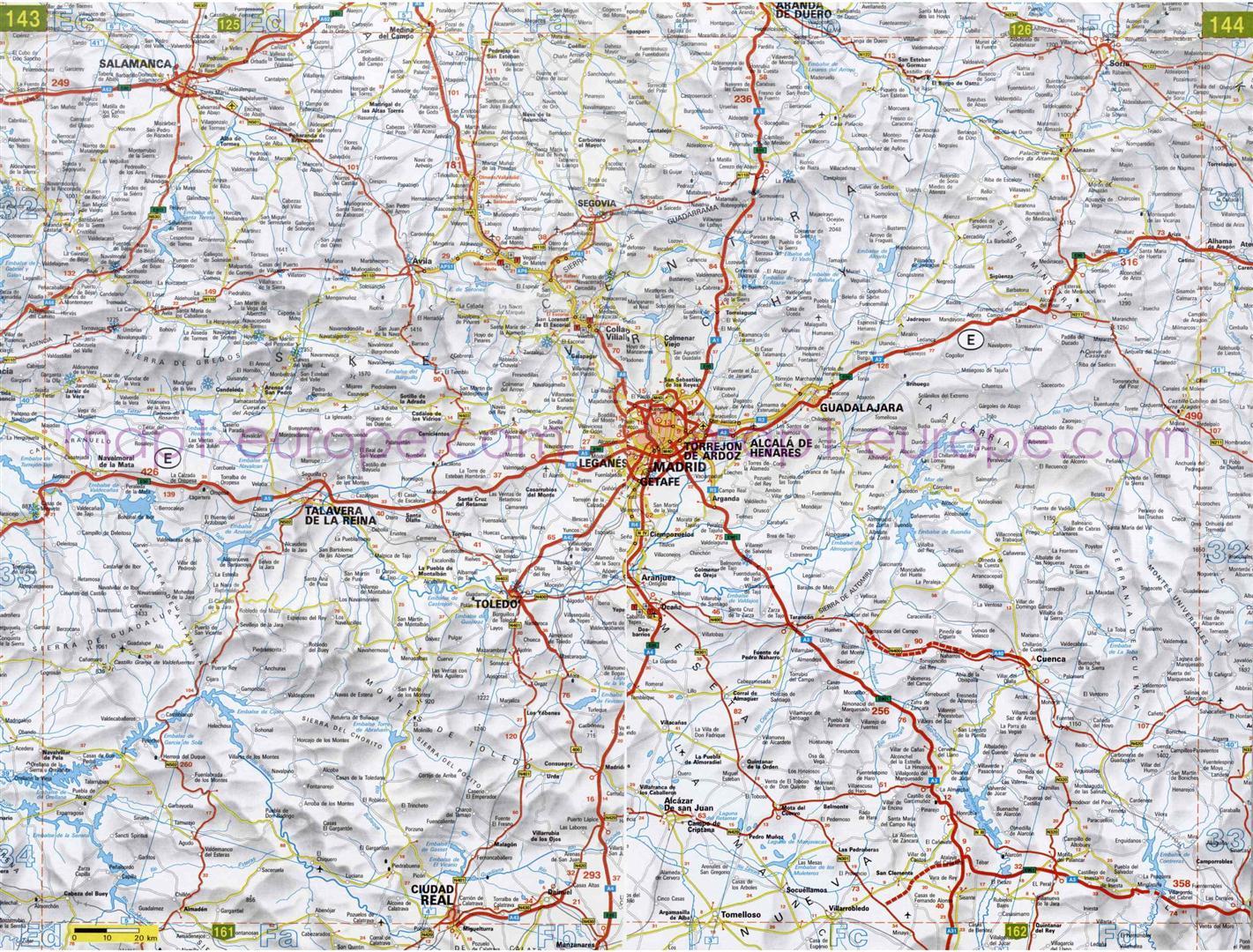 Mapa Provincia Toledo Carreteras.Guia De Calzadas De Toledo Mapacarreteras Org