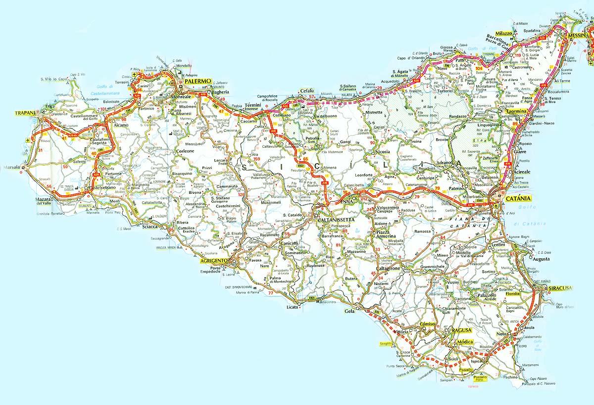 de transporte de Sicilia  MapaCarreterasorg