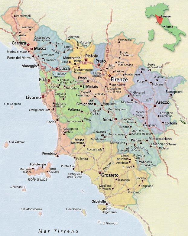 La Toscana Italia Mapa.Mapa De Toscana Italia