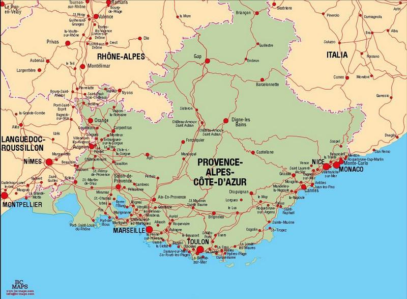 Mapa de transporte en provence alpes cote d azur - Hoteles en la provenza ...